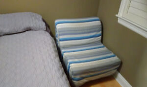 Single Chair/Bed with Blue White Striped Cover