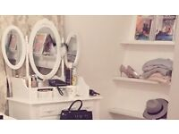 Makeup Desk White Dressing Table 7 Drawers and Oval 3 Mirror Bedroom