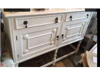 Vintage cream oak sideboard with drawers and cupboard