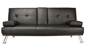2 x BROWN faux leather sofa beds