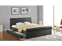 Chesterfield leather double bed with storage