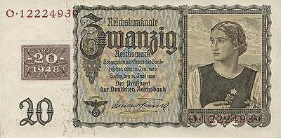 Ro.336 DDR 20 Reichsmark 1948 Österreicherin Kuponausgabe (1) unc
