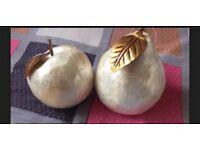The Range - Marble Effect Apple & Pear Sculpture