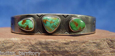 """Navajo Ingot Silver Bracelet w/3 Green Turquoise Cabachons, Fits up to 8"""" wrist"""