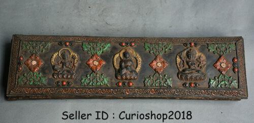 "15.6"" Old Tibet Buddhism Temple Bronze Paper Wood Buddha Confucian classics Book"