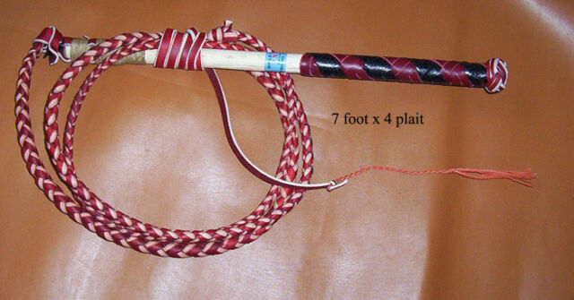 Traditional Australian Red Hide Stock Whip 7x4 plait