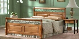 BRAND NEW SOLID RUBBER WOODEN DOUBLE KING SIZE BED FRAME WITH CHOICE OF MATTRESSES
