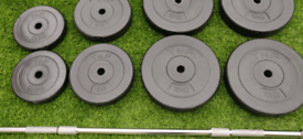 5.5ft Cast Iron Barbell with 55kg Weight plates