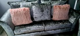 Dfs 3 seater and 2 seater velvet sofas