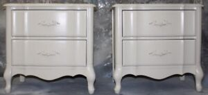 GORGEOUS FRENCH PROVINCIAL MALCOLM BEDSIDE TABLES