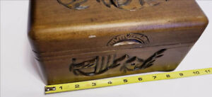 Solid Wood Chinese Oriental Carved Vintage Jewelry Box