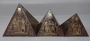 Antique  Copper/ Brass Etched Egyptian Pyramid  Set