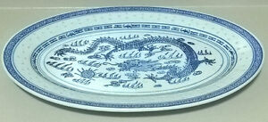 Chinese Blue And White Rice Grain Dragon Oval Serving Platter