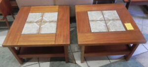 TWO TEAK END TABLES WITH TILE INLAY