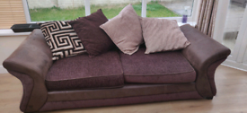 2x scatter back sofas, brown