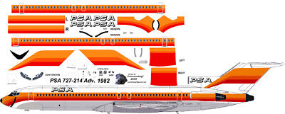 Used, PSA final livery Boeing 727-200 decals for Minicraft 1/144 kit for sale  Oceanside