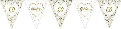 Boda Dorada Banderines Fiesta Decoración Brillante 50th Aniversario Pancarta