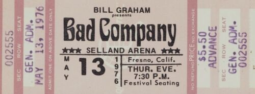 BAD COMPANY 1976 RUN WITH THE PACK TOUR UNUSED SELLAND ARENA CONCERT TICKET
