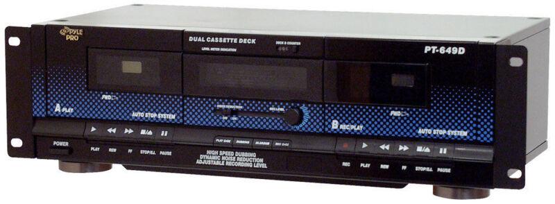Pyle PT649D Dual Cassette Deck Recording High Speed Dubbing Noise Reduction