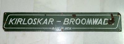 Vintage Old Collectible Kirloskar- Broomwade Engine Porcelain Enamel Sign Board