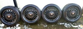 4 x 18 Inch Axe EX10 Matt Black Alloy Wheels With Tires Great Condition