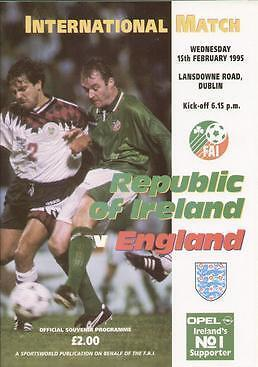 * 1995 REPUBLIC OF IRELAND v ENGLAND (ABANDONED) RARE *
