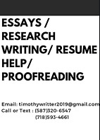 QUALITY ESSAYS / RESEARCH WRITING/ RESUME HELP/ PROOFREADING 15$