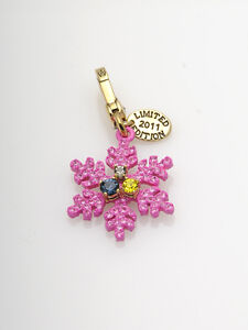 Juicy Couture Pink Snowflake Glitter Crystal Limited Edition Charm NIB! NWT! NEW
