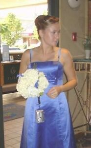 Periwinkle Blue Satin Gown