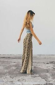 Zara bnwt animal print palazzo trousers, size M