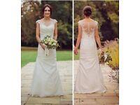 Ivory Satin Wedding Dress, Size 8. Beautiful back