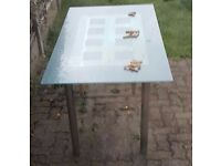 Glass Table and 4 Black Chairs, LOCAL DELIVERY POSSIBLE.
