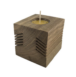 "Handcrafted Patio Candle Holder 4""x4"" fluted"