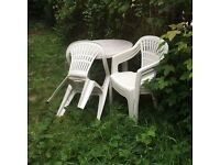 Circular Garden Table And 4 Chair Set + 45cm Round Charcoal BBQ