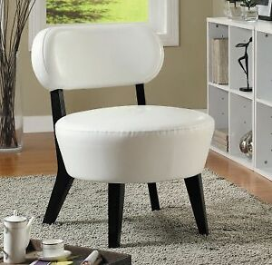 ACCENT CHAIR - IVORY BONDED LEATHER FABRIC