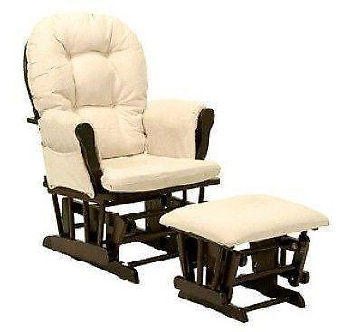White Wood Glider And Ottoman