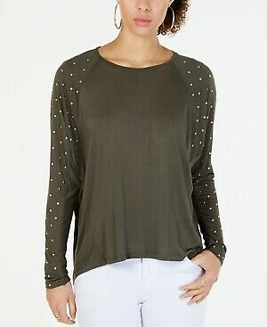 MICHAEL KORS $88 Womens New Green Studded Crew Neck Long Sleeve Top XXL B+B