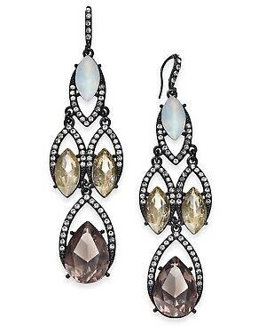 INC Black Tone Multi-Color Crystal & Stone Chandelier Drop Earrings Multi Crystal Chandelier Earrings