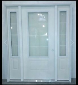"""36"""" white door with side lights"""