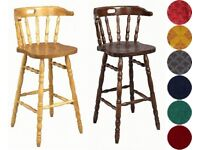Fixed Height Kitchen Bar Stool in Pine (One stool available)