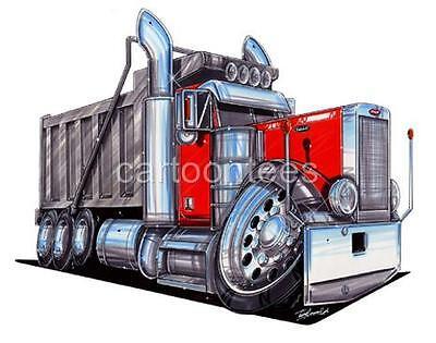 PETERBILT SEMI BIG RIG DUMP TRUCK HAULER CARTOON T-shirt #9131 automotive art