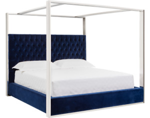 New King Giotto Navy Canopy Bed