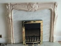 Marble effect fire surround/mantlepiece