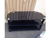 Used Black Glass Chrome TV Stand for Sale £25