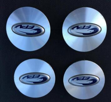4x Ford Falcon BA BF FPV alloy wheel CENTRE CAPS - blue logo