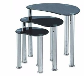 Black Glass Nest of tables x 2 sets of 3 only 6 months old
