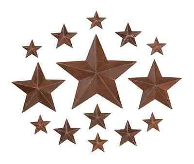 "14 Primitive Rusty Tin Look 2D Barn Stars  --  Asst. sizes - 3/4"", 1"", 2"", 3' on Rummage"