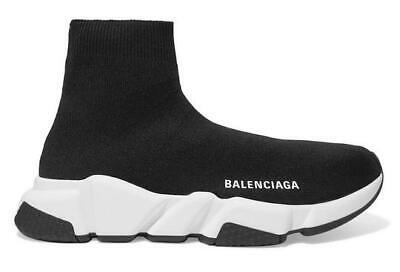 BALENCIAGA Speed Trainer Black Mesh Knit White Sole Ankle Sock Sneaker 37/7