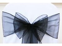 55 black organza chair sashes for wedding