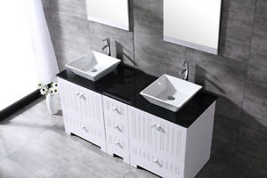 double sink with vanity. 60  Double Bathroom Vanity Cabinet Ceramic Porcelain Sinks W Mirror Glass Top Sink EBay